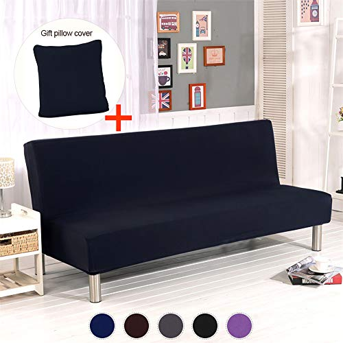 ele ELEOPTION Futon Cover Armless Sofa Slipcover Stretch Sofa Bed Cover Protector Without Armrests Elastic Spandex Modern Simple Mattress Folding Couch Shield Sofa Cover Machine Washable(Black)