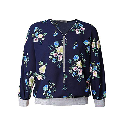 Women Plus Size Vintage Elegant Long-Sleeved T-Shirt Clothes Graphic Fashion Women tees Cotton Tops,Azul,XL