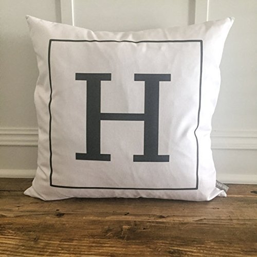 Square Monogram Pillow Cover - Custom Name - Cushion Cover - Personalized Pillowcase - Anniversary Gift