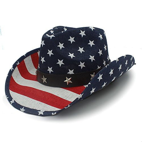 Battle Men Men's Classic Hollow Western Cowboy Hat Women's Cowgirl Straw Hat American Flag Style with Leather Belt 22