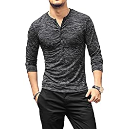 Men's Casual Slim Fit Basic Henley Long Sleeve T-Shirt