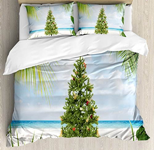 Duvet Cover Set Queen Size, Tree with Tinsel and Ornaments Tropical Island Sandy Beach Party Theme, Decorative 3 Piece Bedding Set with 2 Pillow Shams, Green Blue Cream ()