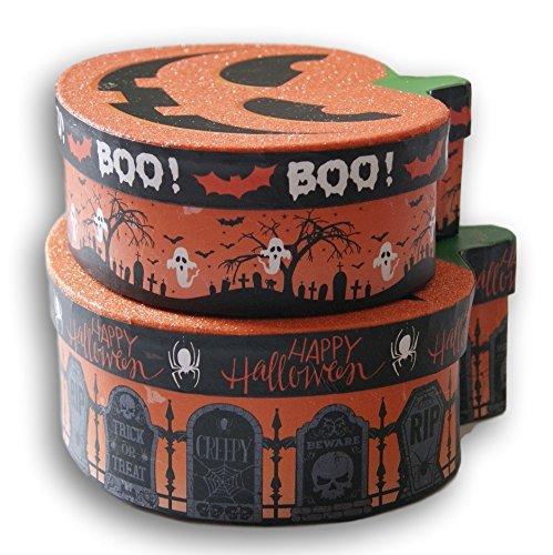Halloween Themed Glittery Pumpkin Nesting Gift Boxes - Spooky Jack O'Lantern - Set of (Pumpkin Gift)
