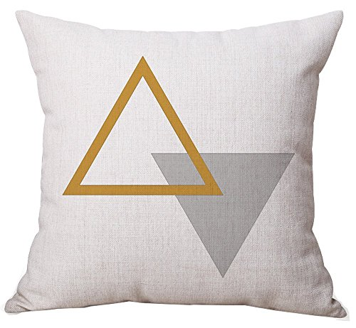 BLUETTEK Modern Simple Geometric Style Soft Linen Burlap Square Throw Pillow Covers, 18 x 18 Inches, (Yellow & Gray Triangle)