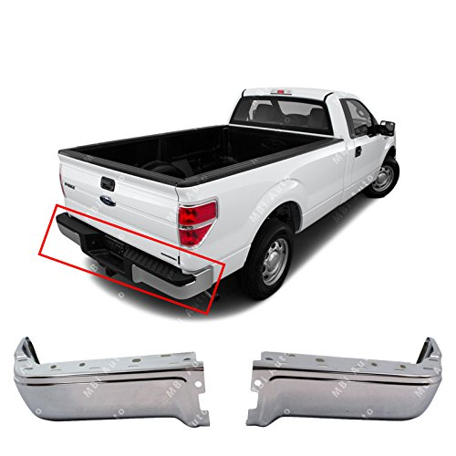(MBI AUTO - Chrome, Steel Rear Left & Right Bumper Ends Set for 2009-2014 Ford F150 Pickup 09-14, FO1102374)