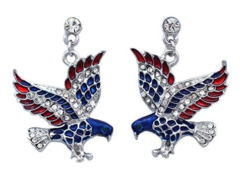 Elephant American Flag - 4th of July USA American Flag Patriotic Eagle Texas Donkey Elephant Earrings (Eagle Sliver-tone)