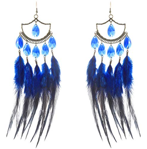 1 Pair Blue Downy Feather Earrings Bead Bronze Sector Dangle Ornament -