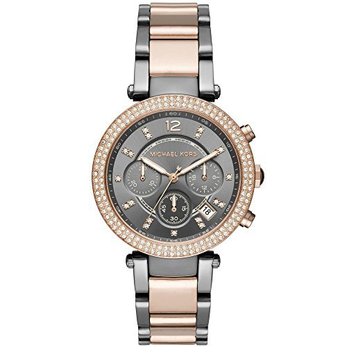 Michael Kors MK6440 Women's Parker Two-Tone Rose Gold Gunmetal Chronograph Watch