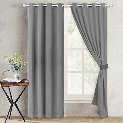 Blackout Curtains,Solid Thermal Insulated Grommet Blackout Curtain Panels Window Drapes for Bedroom,Room Darkening Energy Efficiency Window Treatment - W52 x L84 Inch,2 Panels, Light Grey
