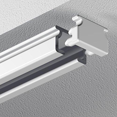 GARDUNA eckige Schleuderschiene Gardinenschiene Vorhangschiene, Aluminium, weiss, glatte, glänzende Oberfläche, 1-läufig - vorgebohrt! # 100 X-Gleiter#