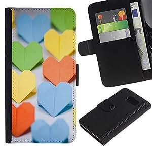 LASTONE PHONE CASE / Lujo Billetera de Cuero Caso del tirón Titular de la tarjeta Flip Carcasa Funda para Samsung Galaxy S6 SM-G920 / Paper Heart
