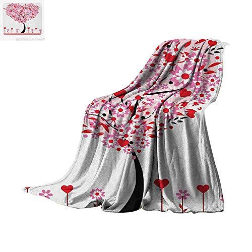 (Valentine Throw Blanket Heart Shaped Tree Daisies Wildflowers Red Leaves Forest Romance Love Season Image Print Artwork Image 90