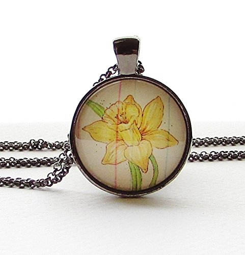 - March Birth Month Flower Daffodil Necklace Pendant Wearable Art Yellow Flower Birthday Gift Idea