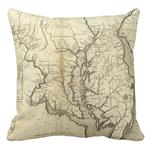 Vintage Map Of Maryland (1796) Home Decor Pillow Cover for Girls Throw Pillowcase Dorm Room Decor Throw Pillows for Couch 16 x 16