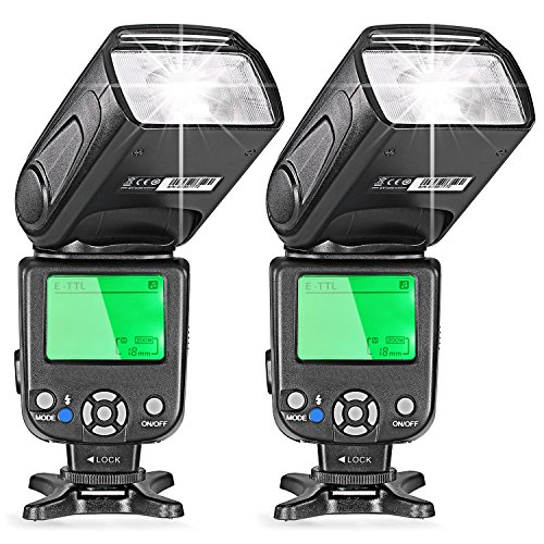 Neewer Two E-TTL Flash Speedlite for Canon DSLR Camera Such as 5D Mark II 5D Mark III 700D 650D 600D 1100D 550D 500D 100D 6D(NW-562) by Neewer