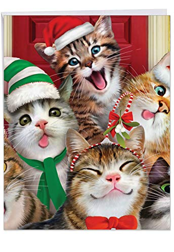 BIG 'Merry Christmas to Zoo' Merry Xmas Greeting Card (8.5 x 11 Inch with Envelope) - Cute and Funny Cats Posing for Selfie Photo - Jumbo Animal Lover and Holiday Kitten Gift J6652HXSG (Christmas Nativity Cards Dog)