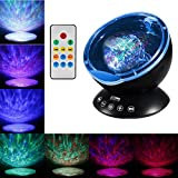 Fipart Remote Control Ocean Wave Projector with Build-in music player 12 LED &7 kinds of lighted modes  for Living Room and Bedroom (Black)