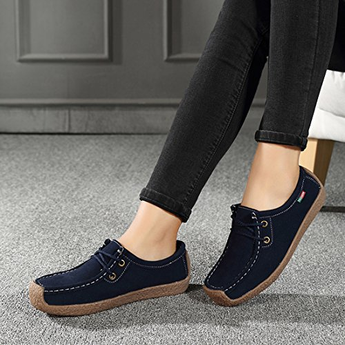 Loafers Women Comfort Blue Z up Low Platform SUO Moccasins Suede Shoes Top Lace Driving qtwxB1