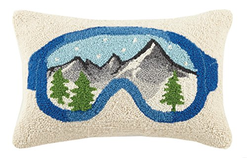 Peking Handicraft Cabin Ski Hook Goggles Wool Lumbar Pillow, Multicolored