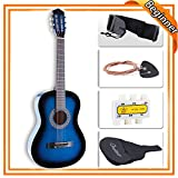 LAGRIMA 38 inch Acoustic Guitar for Beginners Kids Adult with Guitar Case, Strap, Tuner & Pick Steel Strings (Blue)