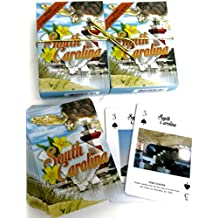 South Carolina, Souvenir Playing Cards, Vacation Gift. Card Faces Feature Multiple Landmarks, Ousttanding Tourist Gift. The Two Deck Set Includes a Gold Gift Ribbon