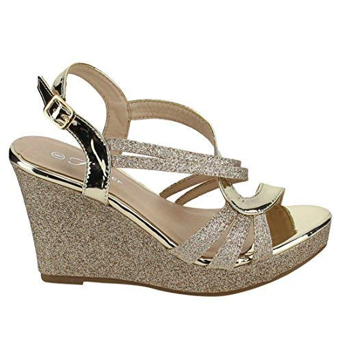 FOREVER FQ22 Women's Glitter Strappy Wrapped Wedge Heel Platform Sandals, Color Gold, Size:6.5