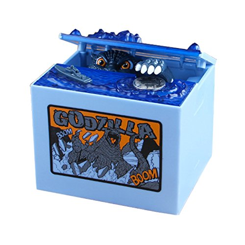 Amyove Money Box Electronic Automatic Stealing Coin Godzilla Box Novelty Coin Bank Money Box Toy & Home Decor Gift for Kids