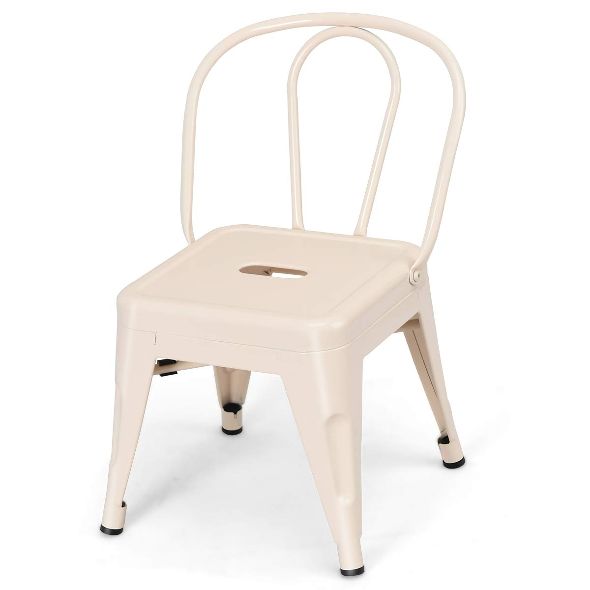 Costzon High Back Kids Metal Stool, Contour School Student Chair, Stackable for Indoor/Outdoor,Preschool, Daycare, Playroom, Nursery Seat, Iron Furniture Stool for Boys, Girls (Milky White) by Costzon