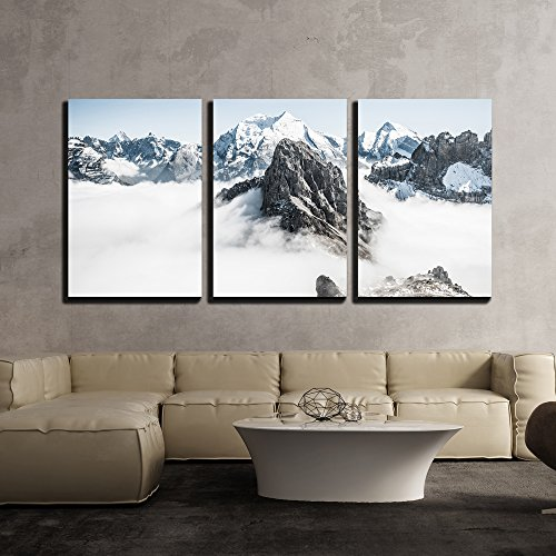 Winter Landscape Mountain Peaks Covered with Fresh Snow x3 Panels