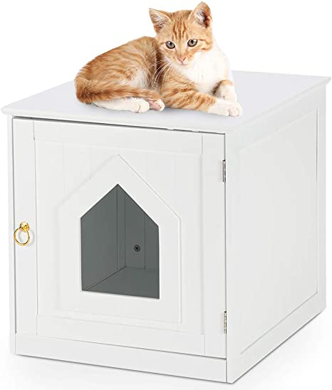 Bonnlo Cat House Nightstand Litter Box Enclosure Cat Home Nightstand Indoor Pet Crate Cat Washroom Litter Box Cover With Sturdy Wooden Structure Pet Supplies