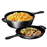 Ultimate Pre-Seasoned 2-in-1 Cast Iron Multi-Cooker by Bruntmor - Heavy Duty 3 Quart Skillet and Lid Set, Versatile Healthy Design, Non-Stick Kitchen Cookware, Use As Dutch Oven Frying Pan