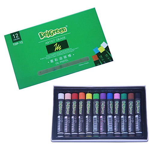 DelGreen Artist Grade Nontoxic Washable Smooth Soft Colorful Oil Pastels for All Ages Set of 12(0.35-inch Diameter)
