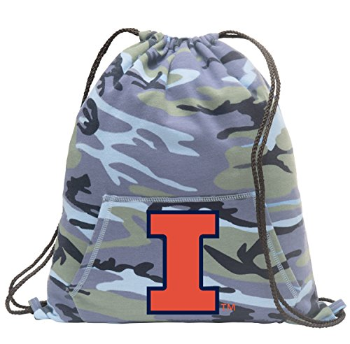 Broad Bay University of Illinois Camo Drawstring Bag Cool Hoody Illinois Illini Cinch Pack