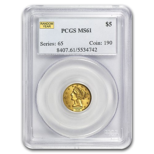 1839 – 1908 $5 Liberty Gold Half Eagle MS-61 PCGS G$5 MS-61 PCGS