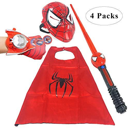 Fundisinn Spider Man 4 Packs Cartoon Superhero Costume Light Mask & Satin Cape & & Adjustable Sword & Fire Gloves Dress Up Costumes for Kids(Spider Man) ()