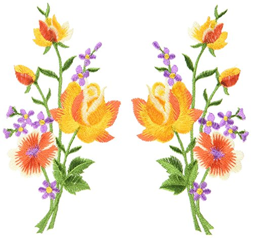 - Orange roses pair flowers floral bouquet boho embroidered appliques iron-ons patches new patch measures 2.25 inches wide (measured from the widest point) by 4.5 inches tall. custom patch.