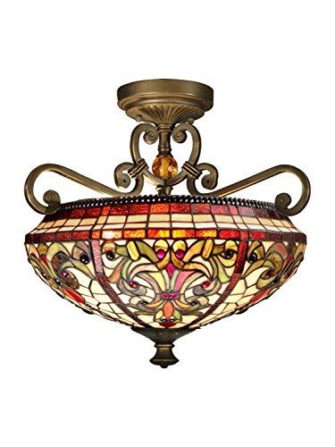 UPC 020258121746, Dale Tiffany TH13090 Baroque Semi Flush Mount Light Fixture, Antique Golden Sand