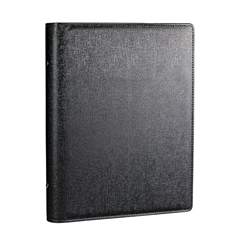 BeeChamp Loose Leaf A4 Page Business Name Cards Holder, Company Gift Cards Organizer Book for 500 Cards, Black