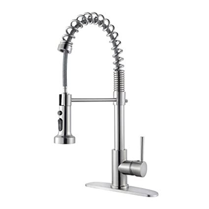 Lordear Best Modern Commercial Brushed Nickel Pull Out Sprayer Single  Handle Kitchen Faucet, Pull Down Kitchen Sink Faucets with Deck Plate