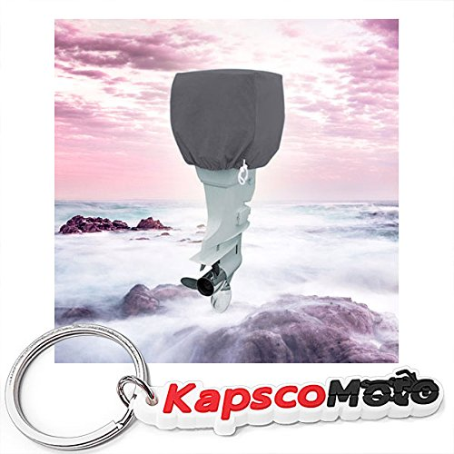 Trailerable Outboard Boat Motor Engine Cover Up to 25 Horsepower - Gray Heavy Duty Water, Mildew, and UV Resistant Thick Polyester Fabric + KapscoMoto (Horse Small Keychain)