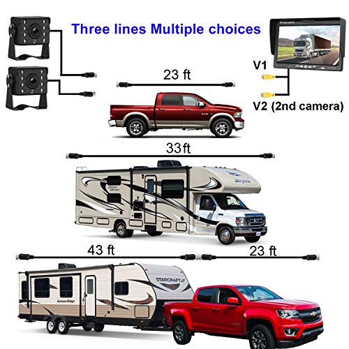 HD 720P Dual Backup Cameras and 7 Monitor System Kit for Bus Trucks Trailer RVs Campers Night Vision IP68 Waterpoof with ON Off Switch Guide Lines Normal Mirrored Pictures Optional