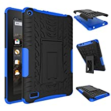 Fire 7 inch Case,YiLin [Blue] [Shock Absorbent] Premium Dual Layer Defender Protective Rugged Cover with Kickstand for Amazon Fire 7'' Tablet 2015 Version