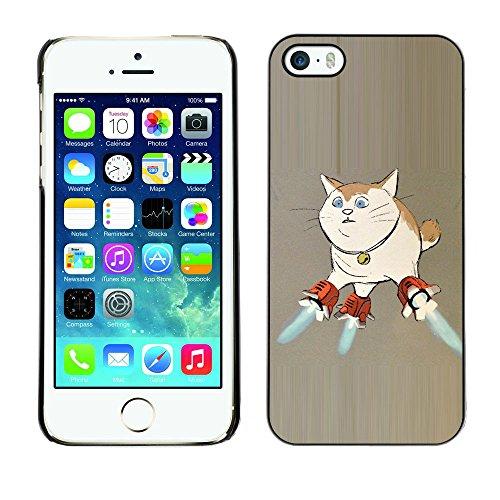 TopCaseStore / caoutchouc Hard Case Housse de protection la Peau - Cat Space Ship Art Super Powers Funny Art - Apple iPhone 5 / 5S