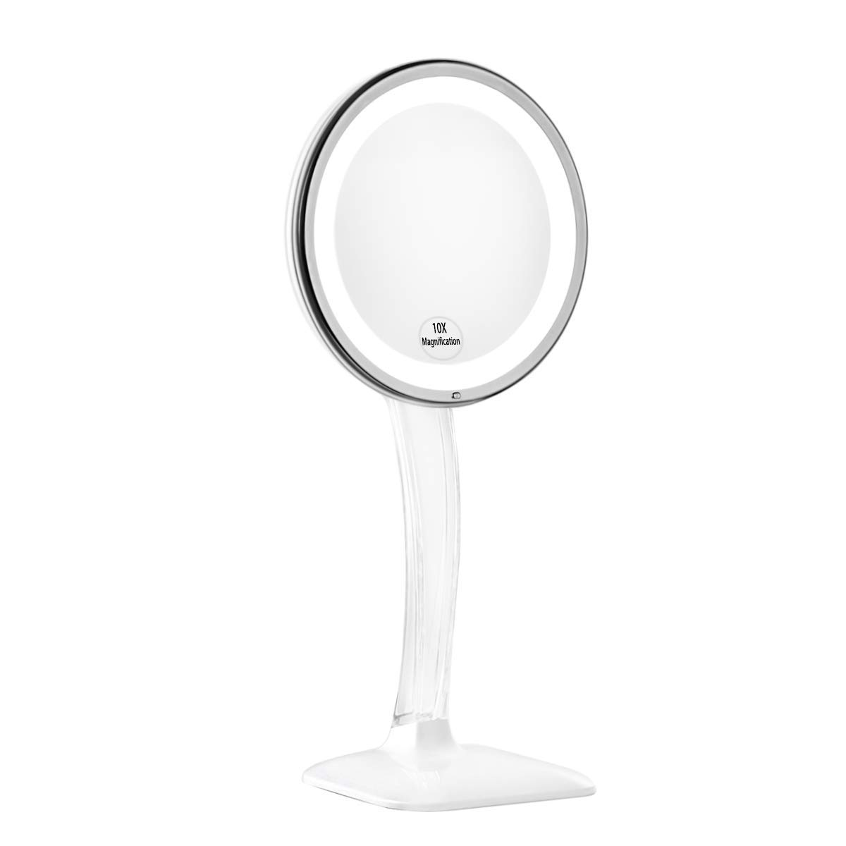 KEDSUM Upgraded 10X Magnifying Lighted Makeup Mirror, Desktop Vanity Mirror with Height 12.6-16.2'', Cosmetic Magnification Mirror with Lights, Dual Power Supply, Wireless Tabletop Lighted Mirror
