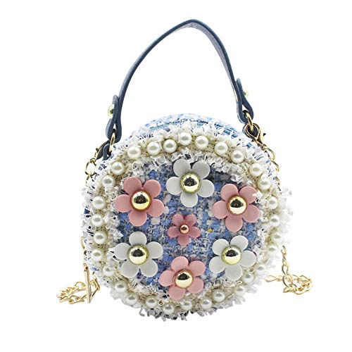 (Aibearty Mini Crossbody Bag Girls Purse Pearl Flower Shoulder Handbags with Chain Blue )
