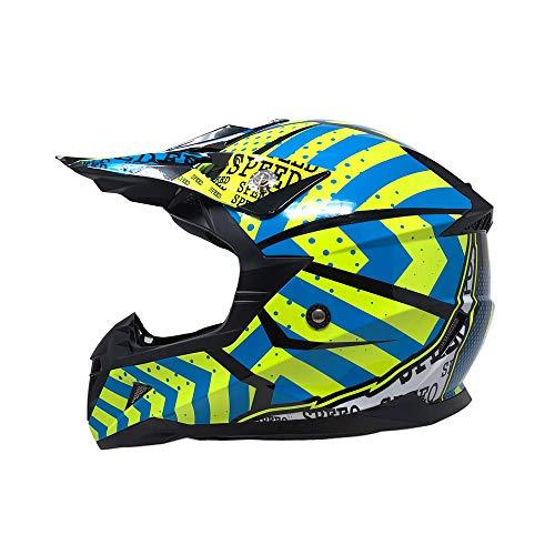 MYK Motorcycle Adults Helmet Off-Road MX ATV Dirt Bike Motocross UTV - Shiny Yellow/Blue (Large) ()