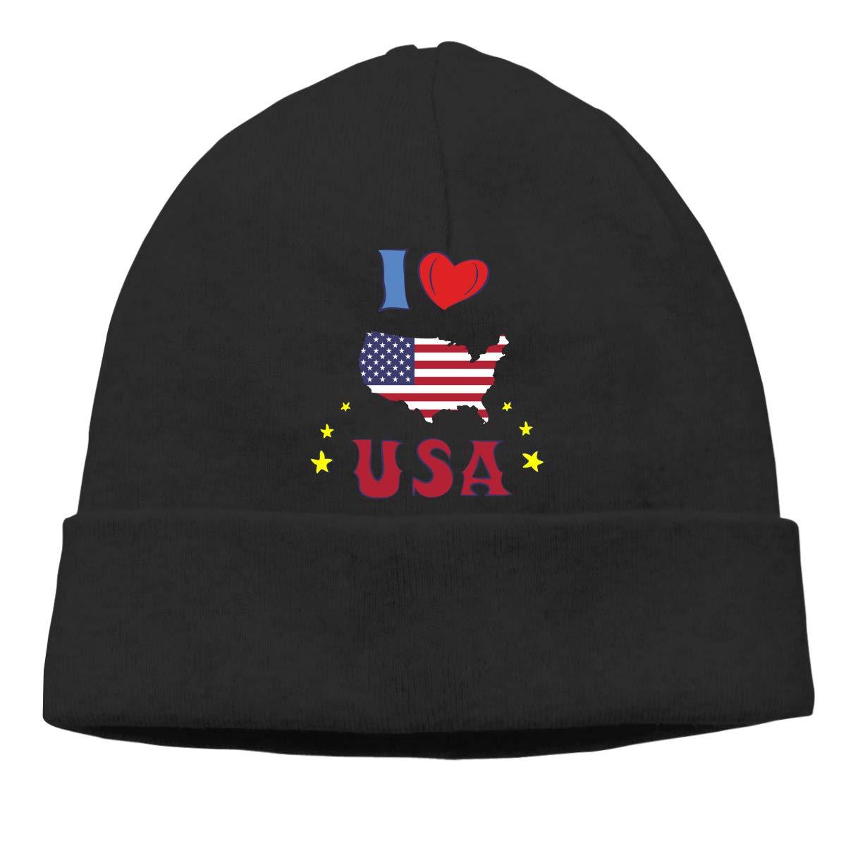 I Love The United States of America Men//Women Baggy Surf Beanie Skull Cap