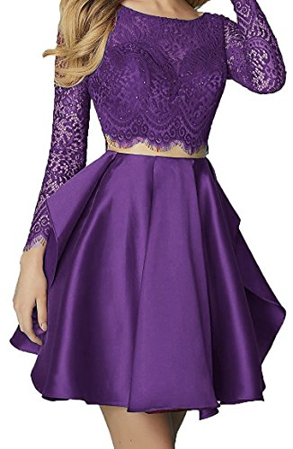 BD370 Ball Piece Two BessDress Cocktail Party Grape Dresses Gown Long Sleeve Lace Homecoming PCxAq