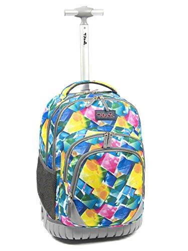 Tilami Large Storage Luggage Bottom Fenders 18 Inch Rolling Bag Book Backpack Noiseless Wheels Laptop for School (Light Colorful (Colorful Backpacks)
