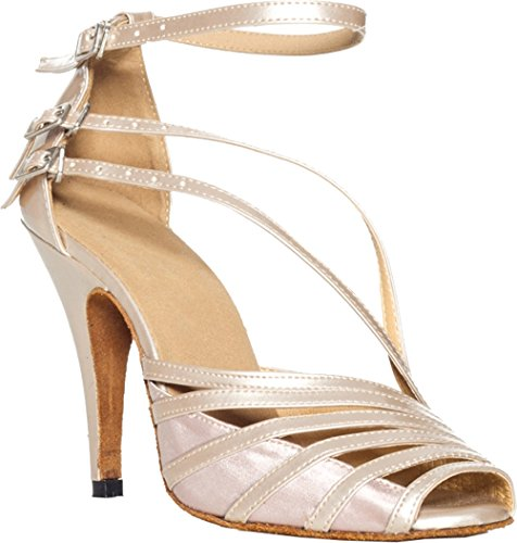 L028 Cha Sexy Dance Fashion Womens Professional Offwhite Satin Salabobo Shoes Straps Three cha Latin UfFwxqdR